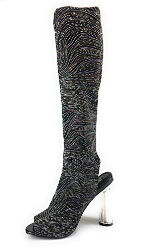 Dames Dijhoge Laarzen Stretchy Materiaal Open Teen Transparante Hak Zijrits Zwarte Glitter