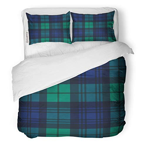 Tarolo Bedding Duvet Cover Set Plaid Black Watch Tartan Pattern in Navy Blue Green and Traditional Scottish Military Swatch Campbell 3 Piece King 104