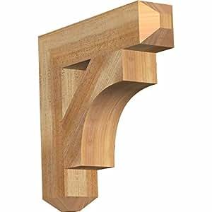 """Ekena Millwork BKT04X18X18WTL04RWR Westlake Craftsman Rough Sawn Bracket, 4"""" Width x 18"""" Depth x 18"""" Height, Western Red Cedar"""