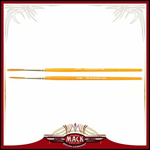 Set of 2 Size 1-2 Series AJ Alan Johnson Mini Detailer Brush Dark Brown Synthetic Hair Pinstriper