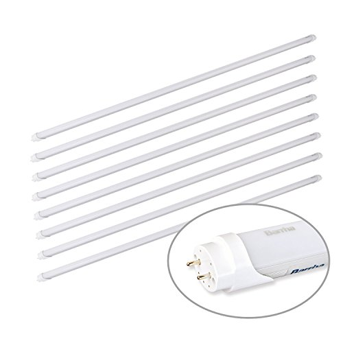 Barrina T8 T10 T12 LED Light Tube, 4ft, 24W 2500Lm, 6000K Super Bright White, Dual-End Powered, Frosted Cover, G13, T8 T10 T12 Fluorescent Light Tubes Replacement, 8-pack by Barrina (Image #2)