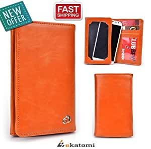 Acer neoTouch Case - ORANGE [Bi-Fold]   Unisex Men's / Women's PU Leather Wallet with Universal Phone Pouch. Bonus...