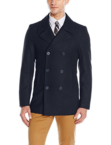Wool Peacoat Men - DKNY Men's Danby 32 inch Peacoat, Navy Solid Melton, 40 Short