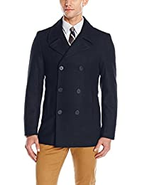 Men's Slim Fit Peacoat, Navy Solid Melton, 44 Long