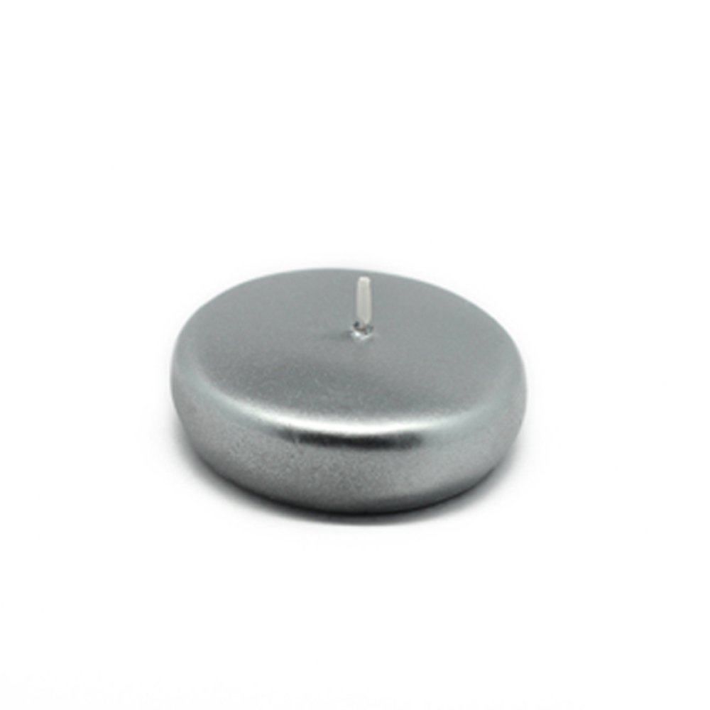Zest Candle CFZ-044_12 288-Piece Floating Candle, 2.25'', Metallic Silver