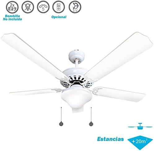 Ventilador de techo mod. Orión con luz, 130 cm, acabado blanco con 5 palas, AkunaDecor: Amazon.es: Iluminación