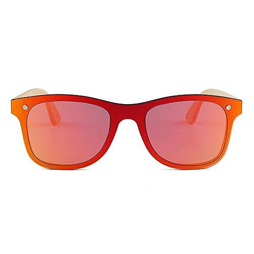 Unisex Gafas para Lente Color Fines Personalidad Sola protección De múltiples de Hechos Mano de Uso para una Estilo Sol al UV y Hombres bambú de a Gububi Rojo Diario Mujeres Adecuado Libre Aire Pieza qvwPFF