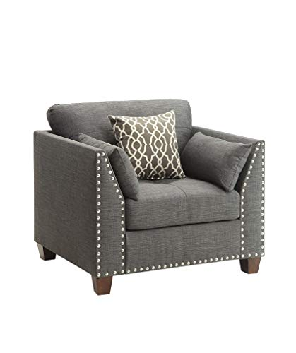 Price comparison product image HomeRoots Furniture Chair in Light Charcoal Linen - Linen,  Eucalyptus,  Plywood,  Foam (318813)