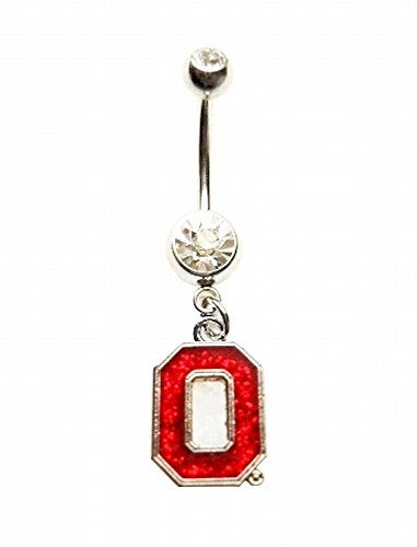 OSU OHIO STATE UNIVERSITY BUCKEYES GLITTER SPARKLES Navel Belly Button Ring Body Jewelry Piercing