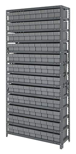 Quantum Storage Systems - Steel Shelving Unit with Bins - - 108 Qed501 Grey - L x W x H - 12'' x 36'' x 75'' - - 1 - Steel - Part Number:1275-501GY