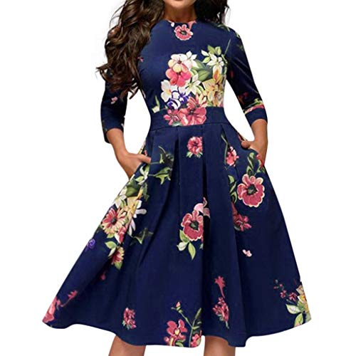 Cenglings Women Elegant 3/4 Sleeve Floral Print A-line Vintage Printing Party Vestidos Dress High Waist Flare Gown Midi Dress Blue
