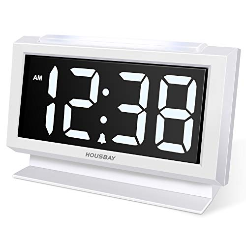 Housbay Digital Alarm Clocks for Bedrooms - Handy Night Light, Large Numbers with Display Dimmer, Dual USB Chargers, 12/24hr, Outlets Powered Compact Clock for Nightstand, Desk, Shelf (Clock Alarm Bedroom)