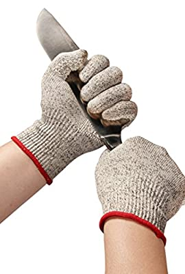 OZERO Cut Resistant Gloves  Certified Food Grade  - Knife Cutting Safety Kevlar Work Glove - Non-slip Silicone Gel Palm for Cooking in Kitchen - Good-grip, Dexterity for Women/Men - Gray/Green/Orange