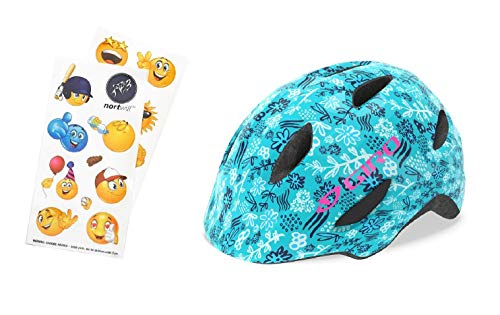 - Nortwill Giro Bike Helmet Set - Giro Scamp Youth Bike Helmet, Giro Kids Bike Helmet, Toddler Helmet - with Cute Emoji Waterproof Stickers (Scamp - Blue Floral, X-Small)