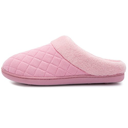 Pink House Quilted and Women's On New House Slippers Foam Lining Style Slip Men's Fleece Memory Shoes Comfort Clog Hq8t5xTw