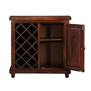 M&C Almond Sheesham Wood Stylish Bar Cabinet with Wine Glass Storage for Living Room with Classy Finish