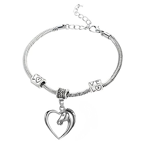 GlobalJewels Heart Horse Bracelet - Best Gift for Mother, Sister, Brother, Friends, Birthdays and Anniversaries by GlobalJewels (Image #2)