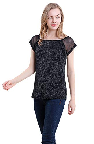 (VERO VIVA Women's Sparkly Shimmer Mesh Short Sleeve Club T-Shirt Casual Tee)