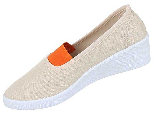 Damen Schuhe Halbschuhe Wedges Slipper Keilabsatz Ballarinas Trend Sommerschuhe Beige