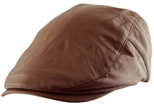Fully Lined Vintage Hat - Itzu Men's Flat Cap Plain Faux Leather Hat Pre Curved Lined Vintage Gatsby Golf Newsboy in Brown