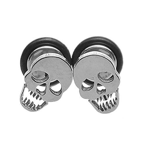 HooAMI 316L Stainless Steel Skull Barbell Screw Back Stud Earrings 10x6.5mm