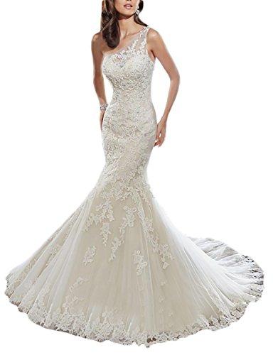 OYISHA One Shoulder Mermaid Wedding Dresses Long 2017 Lace Up Bridal Dress WD027 Ivory 10