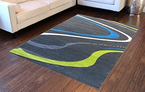 Modern Area Rug Design ST 608 Charcoal 8 Feet X 10 Feet 6 Inch