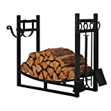 Patio Watcher 3-Foot Firewood Rack Log Rack Indoor Outdoor Fire Wood Storage Log Holder with Kindling Holder and 4 Tools Heavy Duty Steel Black