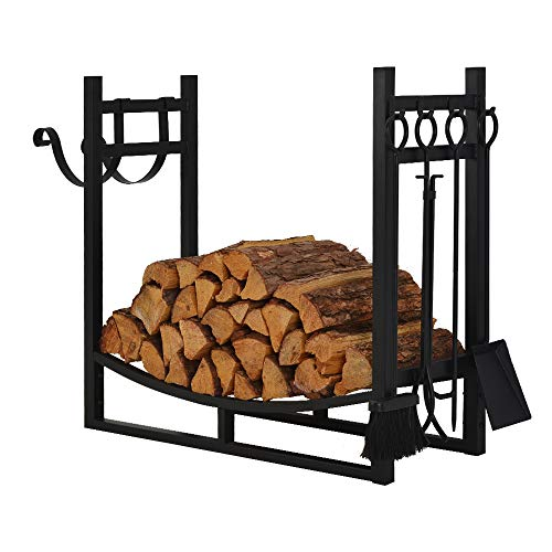 Patio Watcher 3-Foot Firewood Rack Log Rack Indoor Outdoor Fire Wood Storage Log Holder with Kindling Holder and 4 Tools Heavy Duty Steel Black by Patio Watcher