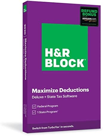 H&R Block Tax Software Deluxe + State 2020 with Refund Bonus Offer (Amazon Exclusive) (Key Card)