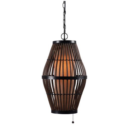 Kenroy Home 93390RAT Biscayne 1-Light Pendant, Black ()
