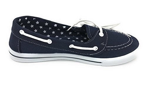 Shoe Navy Sneaker On Berry Slip EASY21 Toe Boat Comfy Blue Tennis Round up Lace Canvas Flat Z60S7fW