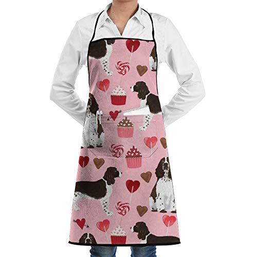 xiaolang Kitchen Aprons English Springer Spaniel Dog Love Fabric Best Valentines Cute Cupcakes Dog Design_470 Adjustable Bib Apron with Pockets 28.3x20.5inch