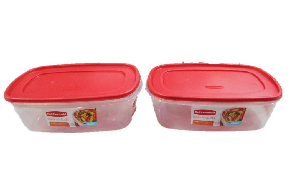 Rubbermaid 669900232999 Easy Find Lid Square 2.5-Gallon Food Storage Container, Red,Pack of 2