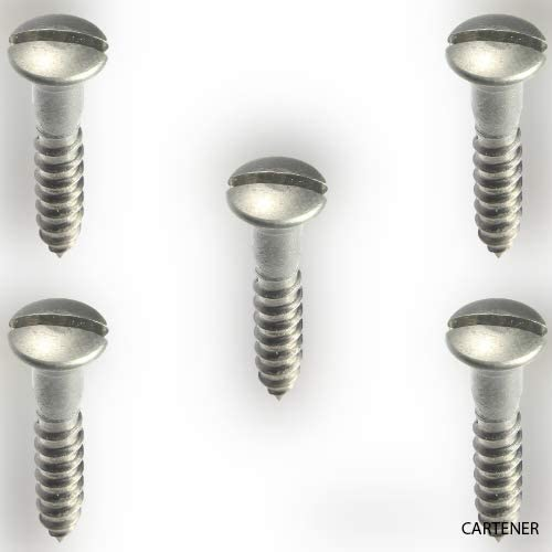100 Count Oval Head Slotted Wood Screw Stainless Steel #6 x 5//8
