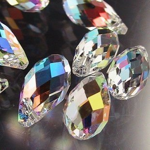 HYBEADS 100pcs 6x12mm Wholesale Drilled Austria Drop Crystal Ab Beads Gemstone Loose (Ab 12mm Beads)