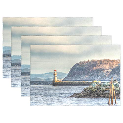 (LEISISA Set of 6 Placemats,Towering Lighthouse Heat-Resistant Stain Placemats for Dining Table)