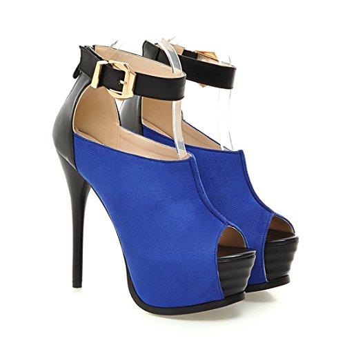 Frauen Sexy Absatz Knöchel Schnallte Peep Toe Pumps Partei Pumps Blau