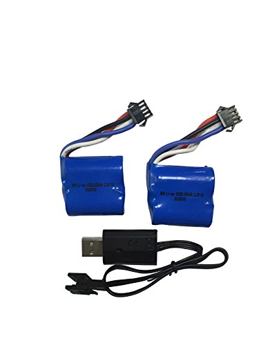 Arfantitoys 2pcs 3.7v 600mah Li-ion Battery with USB Smart Charger for UDI Rc Venom Electric Boat Udi001