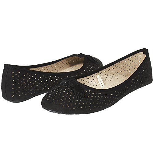 - Sara Z Womens Microsuede Laser Cut Perforated Slip On Ballet Flat with Bow Size 7/8 Black/Black
