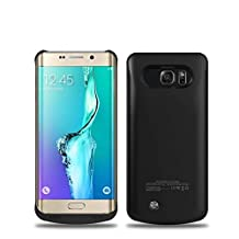 Galaxy S6 Edge Plus Battery Case, 2015 Newest 4200mAh Ultra Slim Rechargeable Extended Battery Charging Case forSamsung Galaxy S6 Edge Plus, Backup External Battery Charger Case, Portable Backup Power Bank Case with Kickstand Black