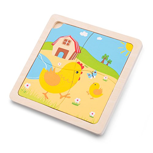 New Classic Toys Mini Puzzle Chicken Educational Wooden Toys For 2 year old Boy And Girl Toddlers Gift