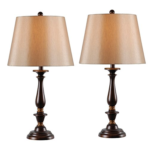 Kenroy Home 32720GFBRG Gavin 2-Pack Table Lamp, Golden Flecked Bronze Finish with Gold - Flecked Finish Gold