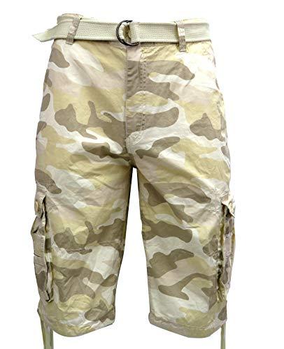 - Tank Men's Light Twill Cargo Shorts, Khaki Camo, 34