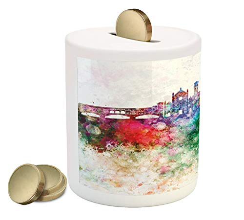 (Lunarable Florence Piggy Bank, Image of Italian City Landmarks Skyline in Grunge Watercolor Effect, Printed Ceramic Coin Bank Money Box for Cash Saving, Multicolor)