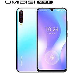 """UMIDIGI X in-Screen Fingerprint Unlocked Cell Phones with 6.35"""" HD+ AMOLED All Screen, 128GB+4GB RAM Unlocked Smartphone with 48MP AI Triple Camera, Dual 4G Volte NFC - Breathing Crystal Blue"""