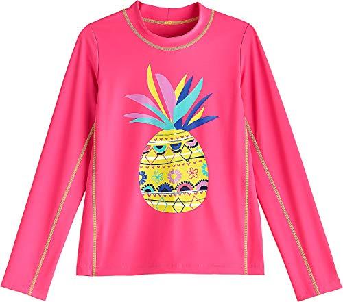 Coolibar UPF 50+ Kids' Long Sleeve Surf Shirt - Sun Protective (X-Large- Aloha Pink Pineapple)