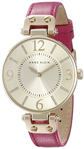 Anne Klein Women's 10/9168CHPK Gold-Tone Watch with Pink Leather Strap
