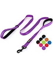 Primal Pet Gear Dog Leash 6ft Long - New Stronger Clip - Traffic Padded Two Handle - Heavy Duty - Double Handles Lead for Control Safety Training - Leashes for Large Dogs or Medium Dogs