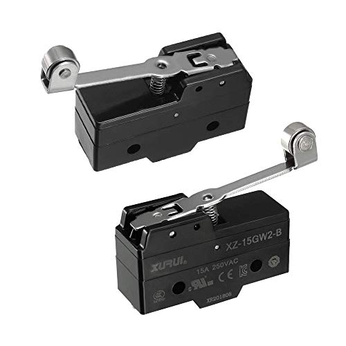 tatoko XZ-15GW2-B SPDT NO+NC Hinge Roller Lever Microswitch Action Switch with Screw Terminals 2PCS